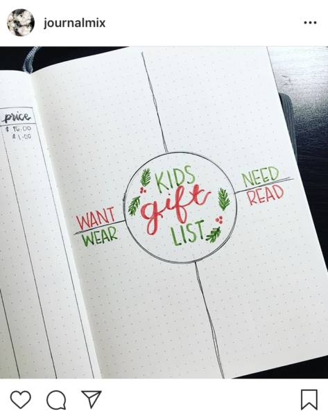 Bullet Journal Christmas Ideas Layout