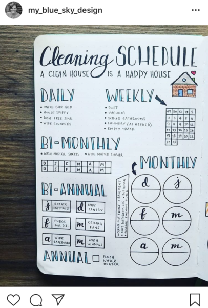 Bullet Journal Cleaning Schedule Layout