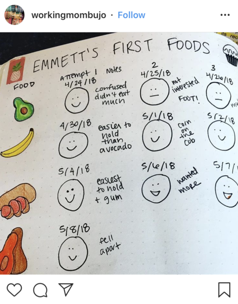 Bullet Journal First Foods Tracker
