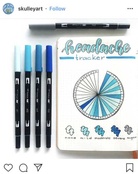 Bullet Journal Headache Tracker