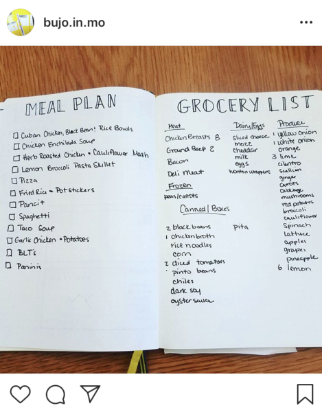Bullet Journal Meal Plan Layout